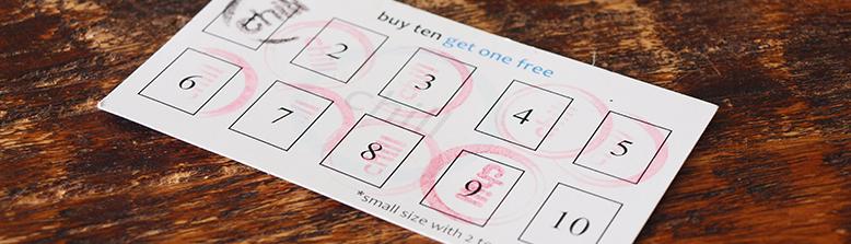 Buy 10 Get 1 Free card