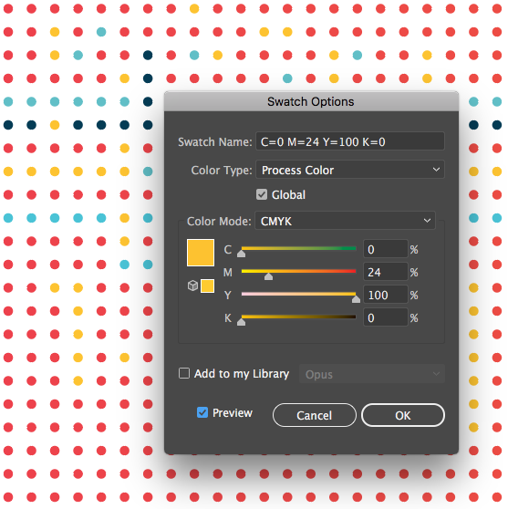 Adobe Illustrator Global Colors Opus Design