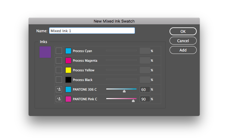 How to mix ink in Indesign
