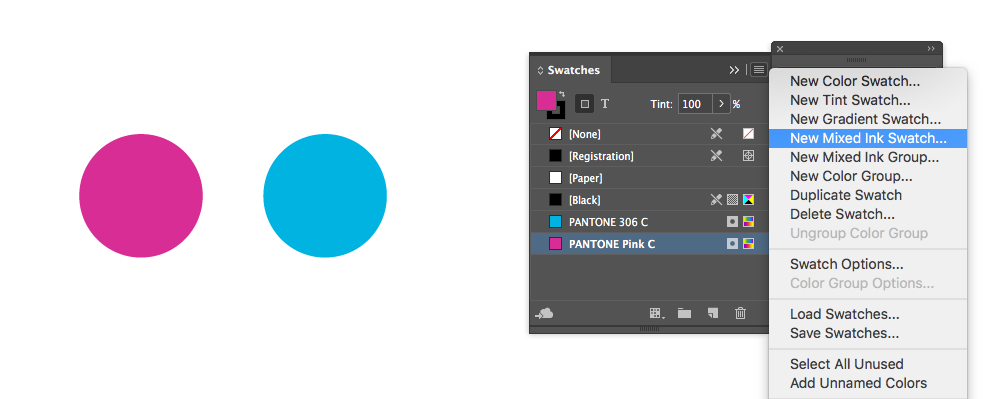 Indesign Swatched palette for mixing inks