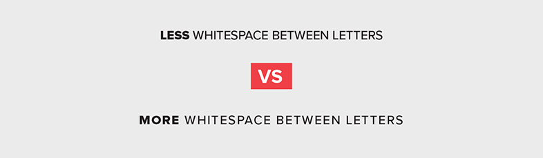 Example of whitespace between letters in a sentence