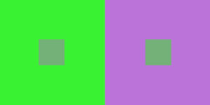 one color interacting with two different backgrounds