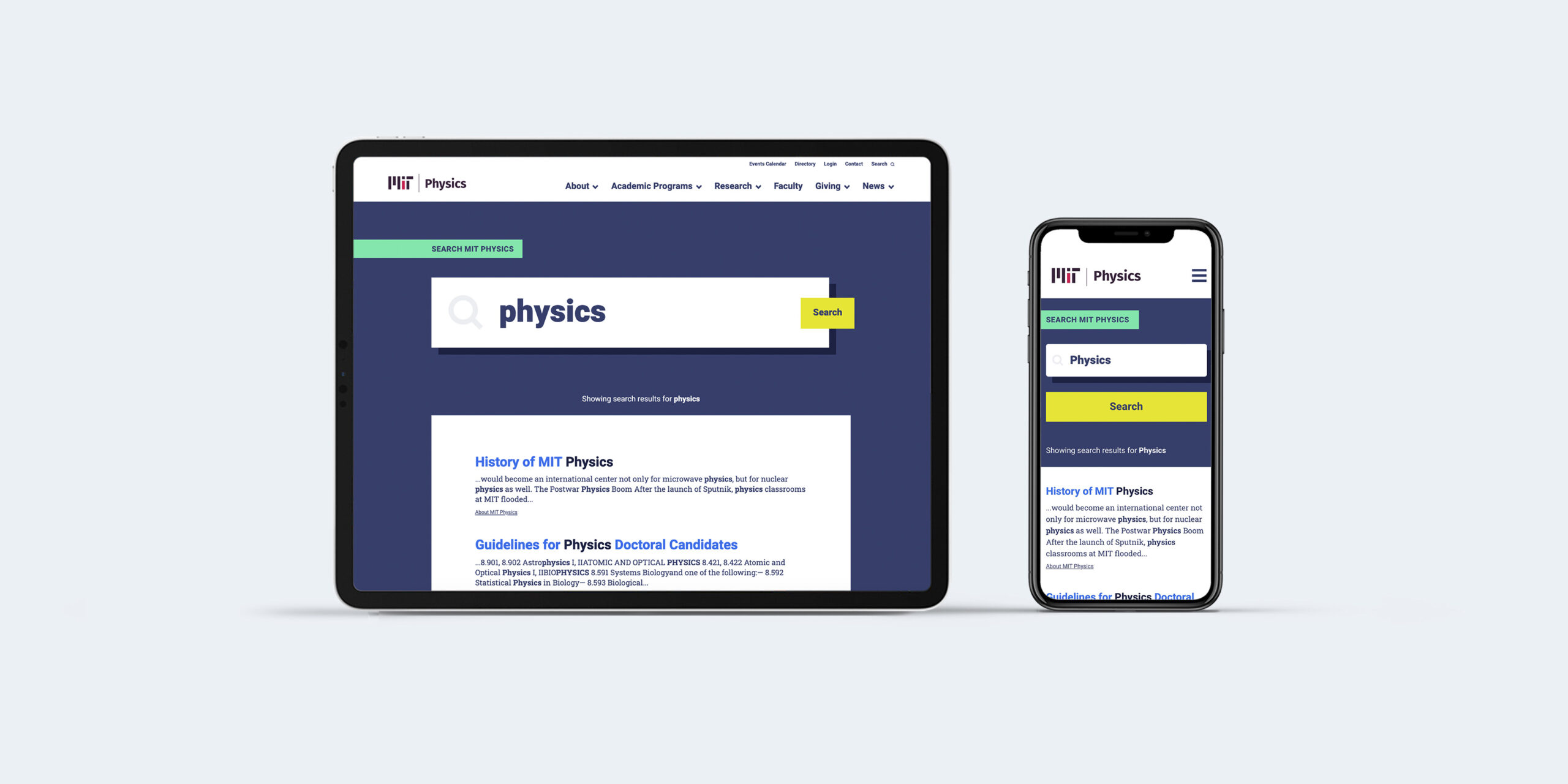 MIT physics search page on tablet and phone