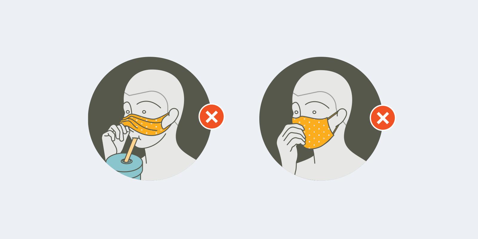 illustration for improper mask use