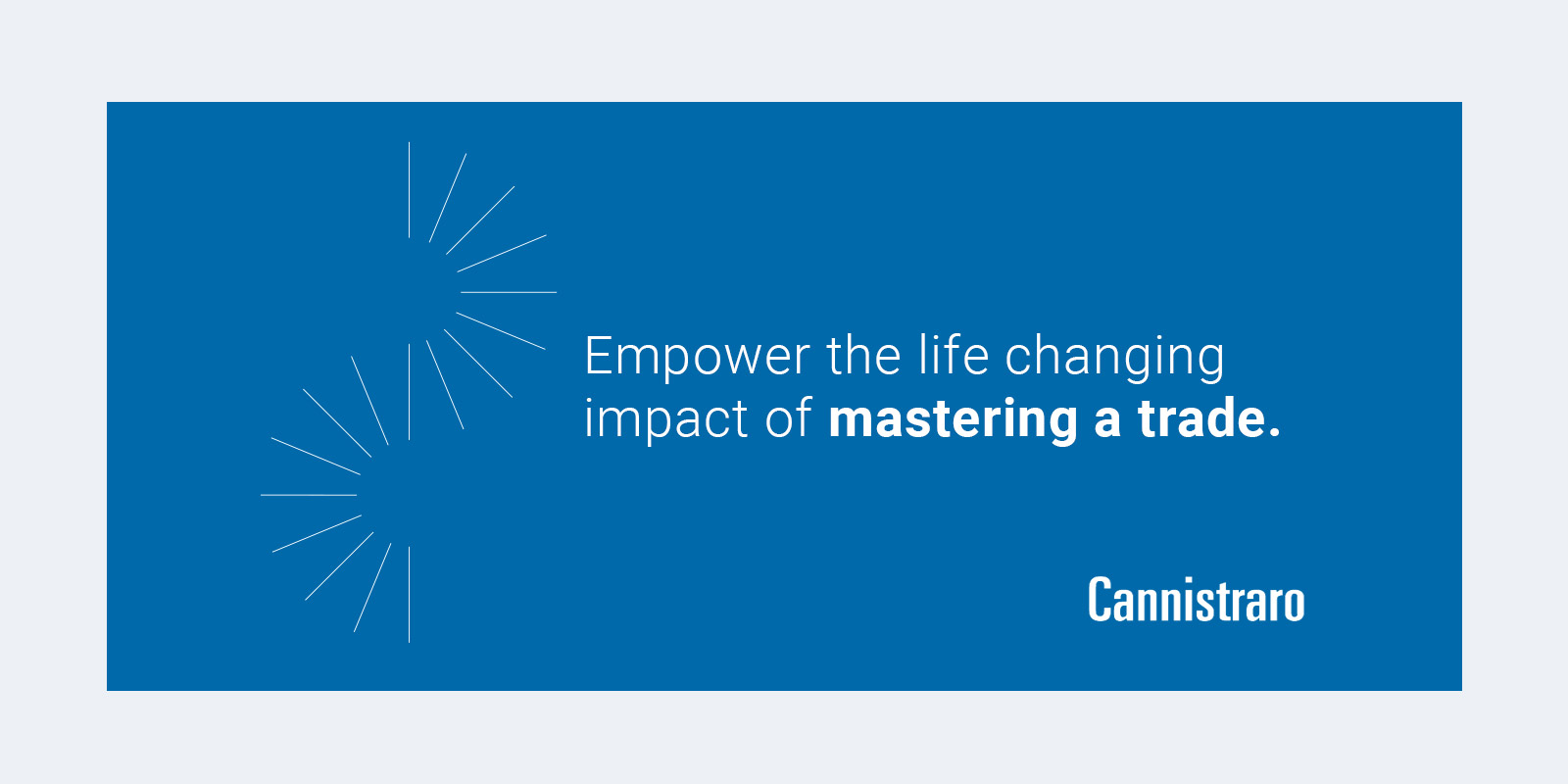 Cannistraro higher purpose statement: Empower the life changing impact of mastering a trade.