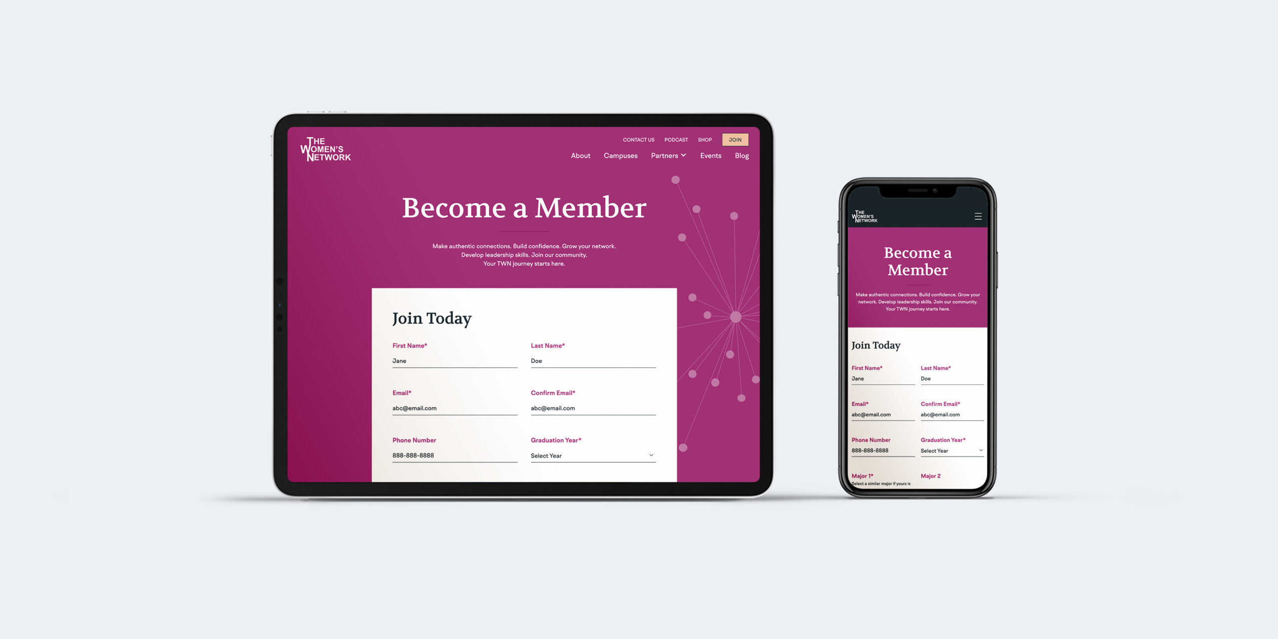 TWN sign up form with adaptive design on ipad and iphone