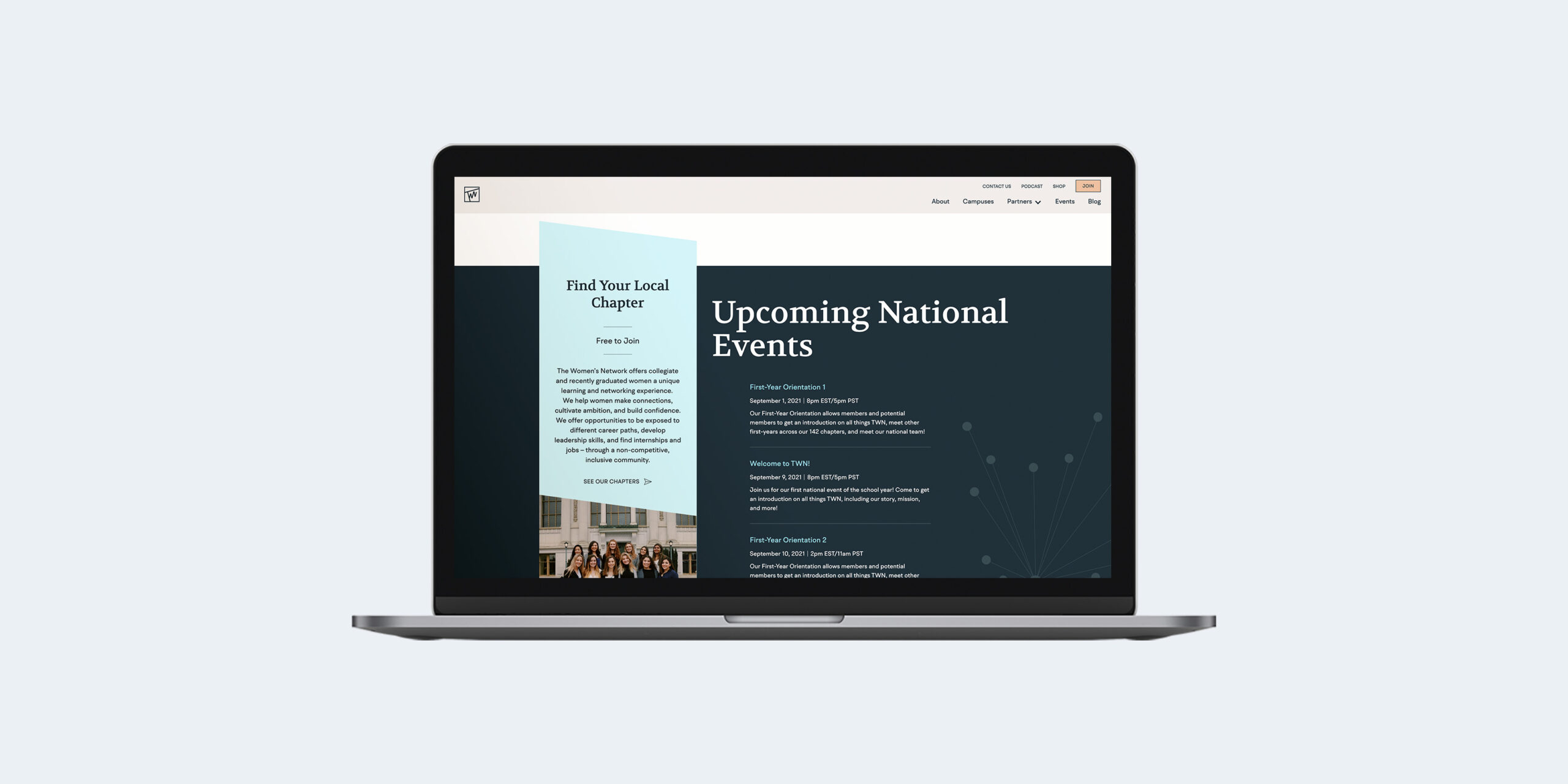 TWN homepage - events